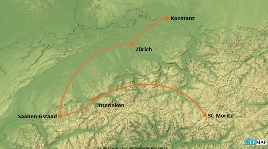 Karte der Reise: PKW-Reise